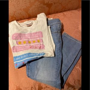 KIDS size 8 jeans & tee outfit old navy /junk food